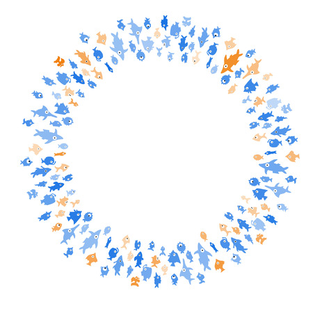 Pattern with circle of different color cartoon fishes on white background. Vector. Ilustrace