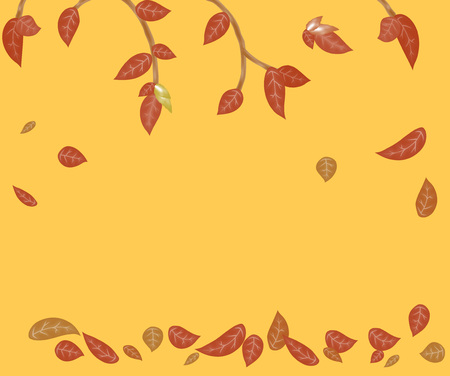 Autumn background. Warm color with leaves and branches. Vector. Ilustrace
