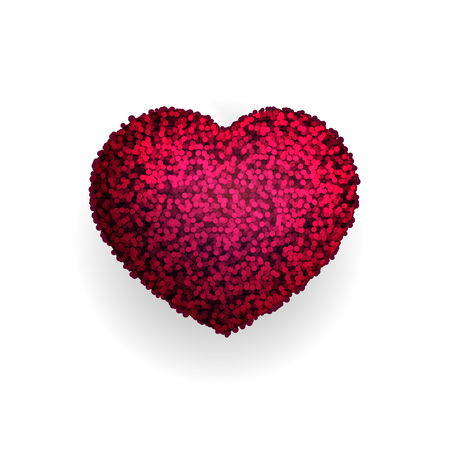 Fur heart isolated on white background. Vector. Ilustrace