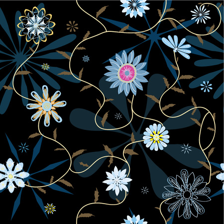 Different abstract flowers in textile texture seamless