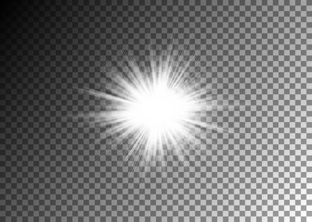 Sun shine on the transparent background for your design. Vector.
