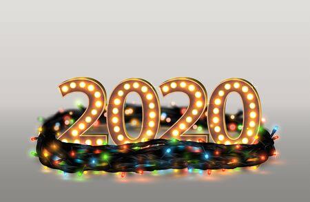 Christmas Garland With 2020 Numbers. Realistic Vector Background Vektoros illusztráció