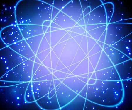 Shining atom model. Neon orbit with galaxy blue background. Vector Ilustração Vetorial