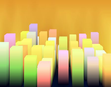 Abstract architecture background with bright cube. Vector