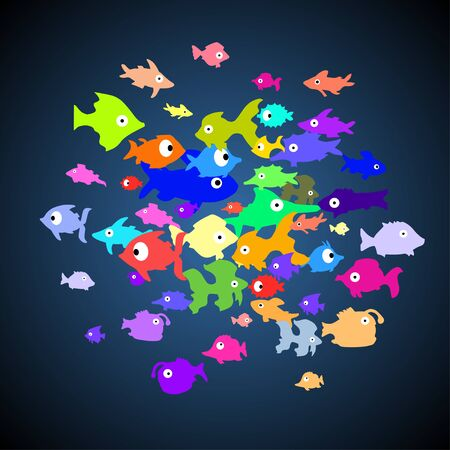 Pattern with different color cartoon fishes on blue background. Vector.