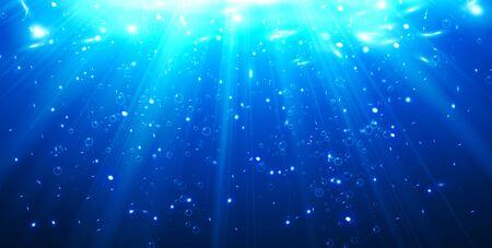 Bulles d'eau profonde couleur bleu foncé éclairées par des rayons d'illustration vectorielle de lumière