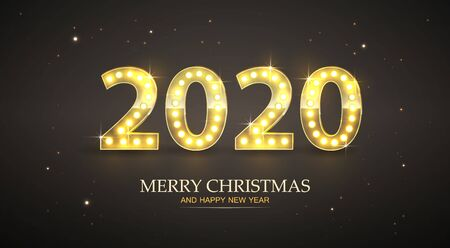 Retro Count 2020 New Year Greeting Card, Vector Vectores