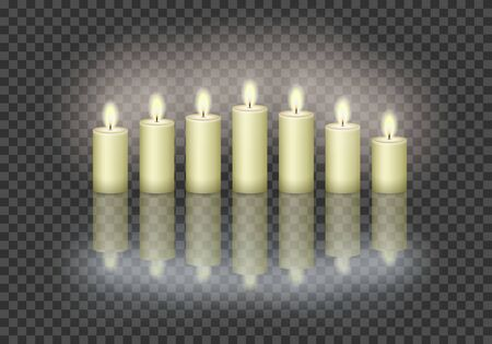 7 burning candles on the transparent background.