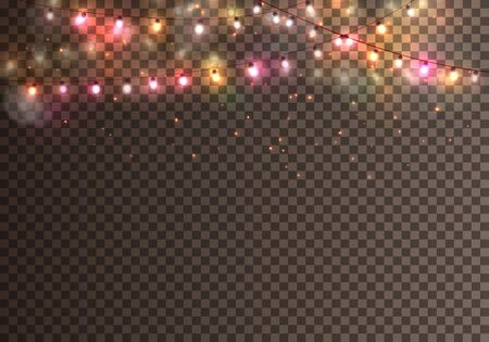 Realistic christmas garland on the transparent background. Vector.