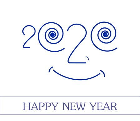 2020 smyle fase. Happy New Year unusual greeting banner, vector illustration.