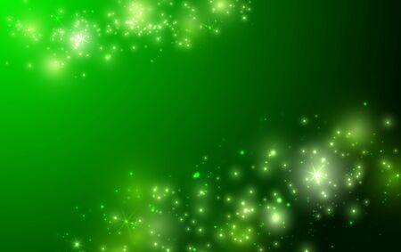Fondo verde brillante con brillo y bokeh. Vector