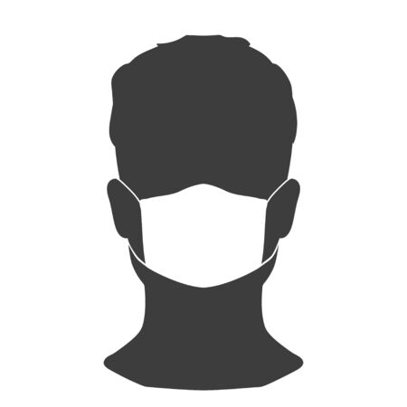 Man in a medical mask. A simple image to protect against external influences. Vector. Be healthy!