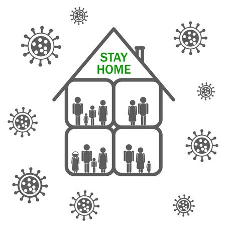 Keep calm and stay home with family. Isolation period protection covid19. Vector.