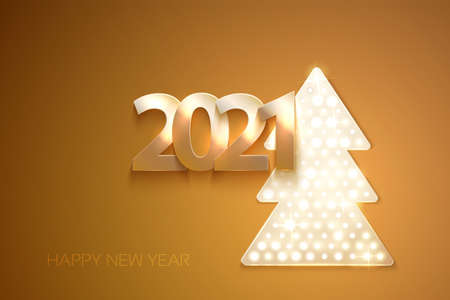 Greetings card warm color with christmas tree and 2021 numbers. Shine and light on the dark background. Vector.