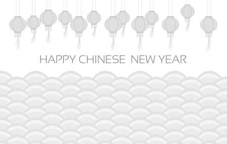 Chinese lanterns on a traditional background Happy New Year greetings. Vector.