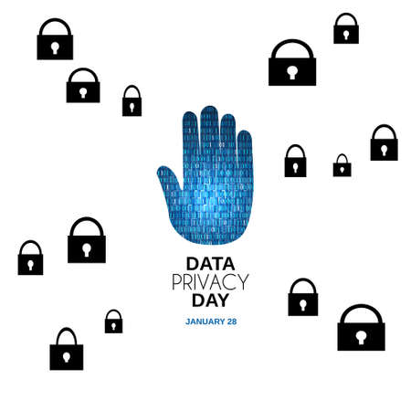 Data Privacy day abstract bacground. Hand stop with locker. Vector.