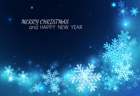 Happy New Year and Merry Christmas! Background for congratulations with sparkling snowflakes on a blue background. Glow and glitter with a spiral pattern. Vector.