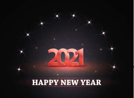 Happy new year 2021! Background with numbers and glowing stars from spotlights. Light and stage for your design. Vector.