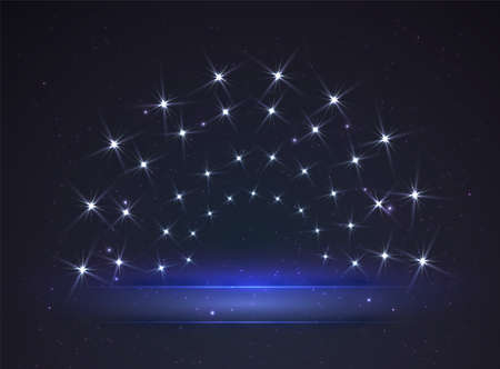 Banner lit by the stars. Glowing stage for your design. Vector. Illustration