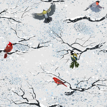 Winter birds on branches in snowy weather. Winter and falling snow. Seamless pattern. Vector.