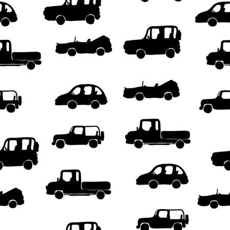 Silhouettes of cars in the old style. Calm repeating pattern. Vector.