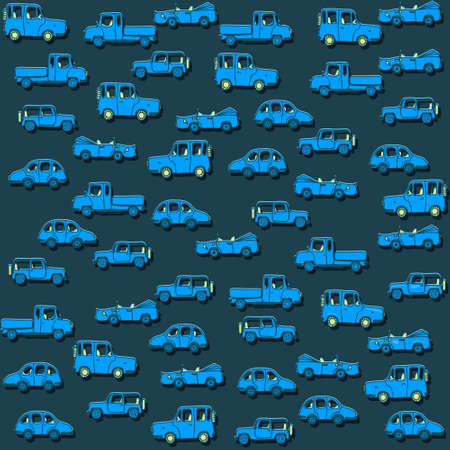 A funny pattern with cartoon cars. Seamless pattern for your design. Vector.