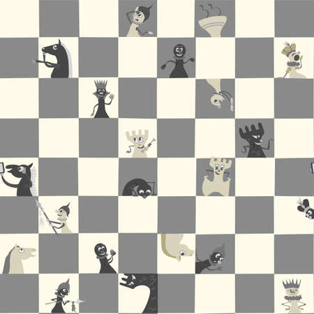 Chess pieces on the board. Communicate with humor as living beings. Seamless pattern. Vector.