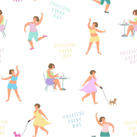 Positive women play sports, lead an active lifestyle and enjoy. Vector. Seamless pattern.