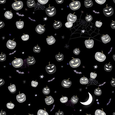 Funny Cute Halloween Pattern Pumpkins and spiders. Cute Horror Background.