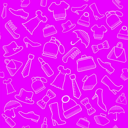 Accessories for lovely ladies. Seamless pattern with images of everyday things of bags, shoes, hats, lipsticks, ties. Vector. Illustration