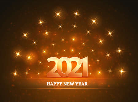Happy new year 2021 Background with numbers and glowing stars from spotlights. Light and stage for your design. Vector.