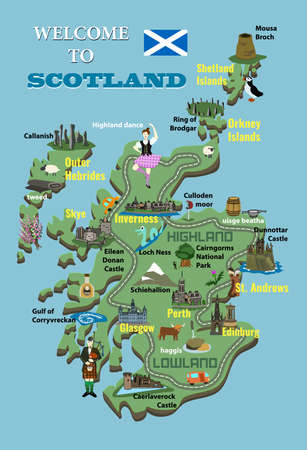 Cartoon map of Scotland. Icons with Scottish landmarks, famous cultural sites, whiskey. Highland dancer and bagpiper. Castles, National Park, Loch Ness and more. Vector.