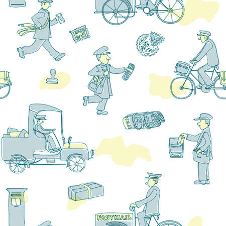 Postmen deliver mail. Seamless pattern with figures of people and vehicles, letters and stamps. Vector.
