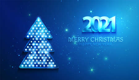 Greetings card blue color with christmas tree and 2021 numbers. Shine and light on the dark background. Vector. Illustration