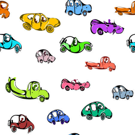 A funny pattern with unusual cars. Vivid colors, repeating and seamless. Vector. Illustration