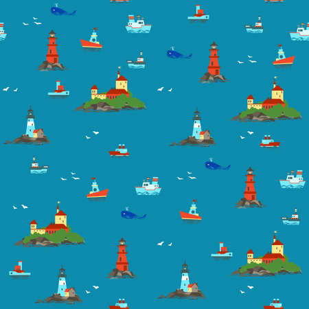 Ships and lighthouses in the vastness of the sea. Marine pattern. Vector. Illustration