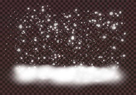 Falling Christmas Shining transparent, little snow isolated on transparent background. Vector beautiful snowfall, snowflakes in various shapes and forms. Vector. Illustration