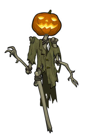 Smiling Jack O 'Lantern with an orange pumpkin for his head, in a torn coat. Vector cartoon image.