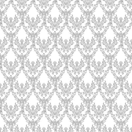 Damask style. A repeating pattern of thistle, the symbol of Scotland, a sharp flower. Vector