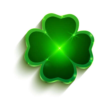 Large green clover with four leaves. Saint Patrick's holiday symbol in Ireland. Good luck sign. Vector.