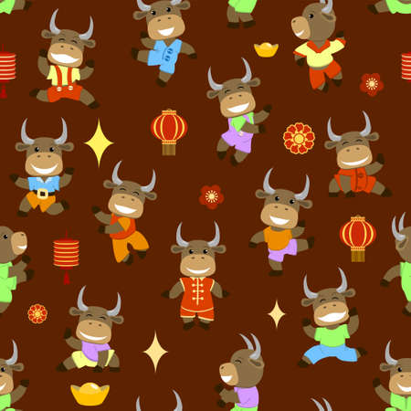 Little smiling bulls dancing and having fun, pattern, vector