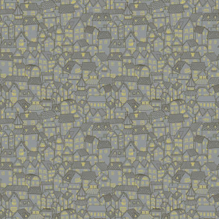 Cartoon town. Seamless pattern small old houses. Vector.