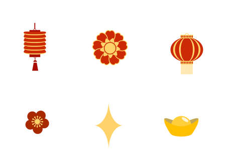 New Year symbols icons. Ingot, flowers, lanterns. Vector.