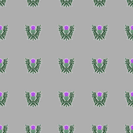 A repeating pattern of thistle, the symbol of Scotland, a sharp flower. Vector. Standard-Bild