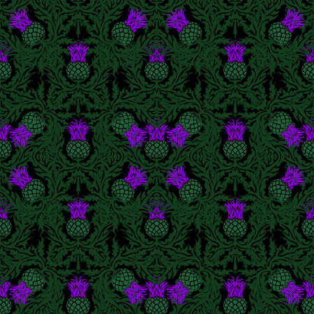 A repeating pattern of thistle, the symbol of Scotland, a sharp flower. Vector. Illustration