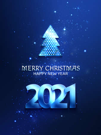 Greetings card blue color with christmas tree and 2021 numbers. Shine and light on the dark background.