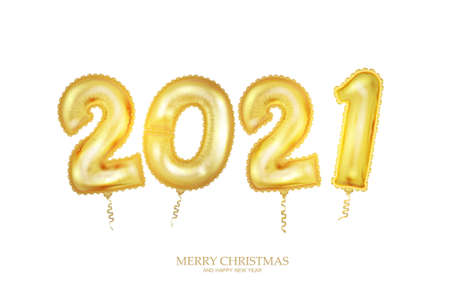 New Year golden balloon, golden metallic numbers 2021. Realistic 3d design for poster or banner. Illustration