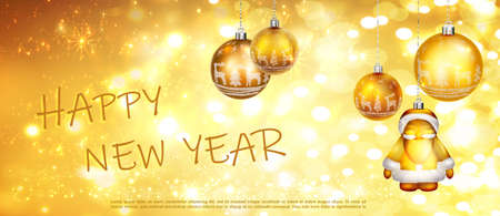 Happy new year. Abstract greeting background with bokeh, lights and christmas ball. Bright positive color. Illustration