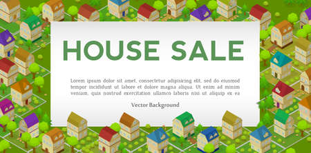 Flat Street and Houses. Landscape GPS Navigation Infographic 3d Isometric Concept. Illustration