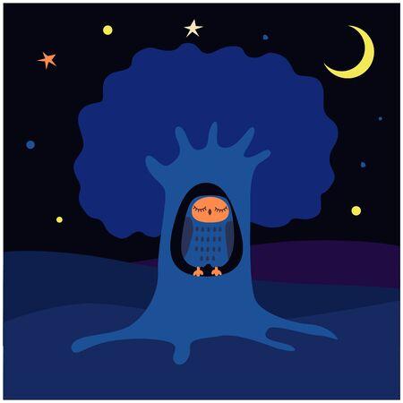 Owl sleeps in a hollow.